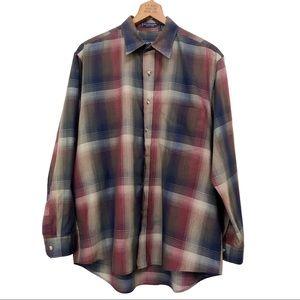 Van Heusen Plaid Button Down Shirt Size Large